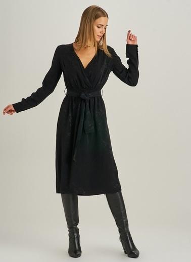 People By Fabrika Kruvaze Jakarlı Elbise Siyah